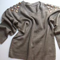 NewHandkinitted Sweater  in copper color Decorated by giZZdesigns