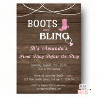 Boots and Bling Invitation - Country Bachelorette Party Invitation Printable - Last Fling Before the Ring - Western Rustic Wood Invitation