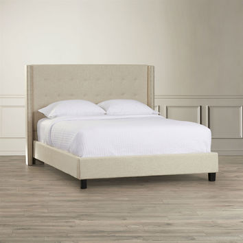 Queen Beige Upholstered Bed with Wingback Button Tufted Headboard