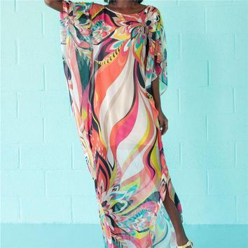 PEAPGC3 Beach Dress Kaftan Pareo Sarongs Sexy Cover-Up Chiffon Bikini Swimwear Tunic Swimsuit Bathing Suit Cover Ups Robe De Plage