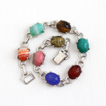Vintage Sterling Silver Scarab Bracelet - Retro Carved Banded Agate , Carnelian , Tiger's Eye Oval Beetle Gem Egyptian Revival WRE Jewelry