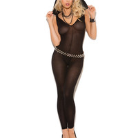 Vivace Opaque Footless Bodystocking W-hood Black O-s