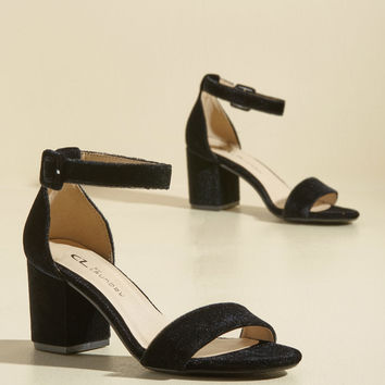 We've Got the Function Velvet Heel in Black | Mod Retro Vintage Heels | ModCloth.com
