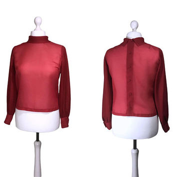 1960's Vintage Blouse | Burgundy Red 60's Blouse | UK14 | Button Back Blouse | Long Sleeved Top With Buttoned Cuffs