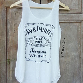 WHITE Jack Daniels Tank Top Hipster tank top Tank top women Fitness top Summer Cloth Gift Summer fashion tshirt Vintage tank tops for woman