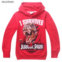 SAILEROAD Jurassic World  dinosaur children boys sweatshirts cotton kids boys Hoodies clothing Autumn baby children sweatshirts