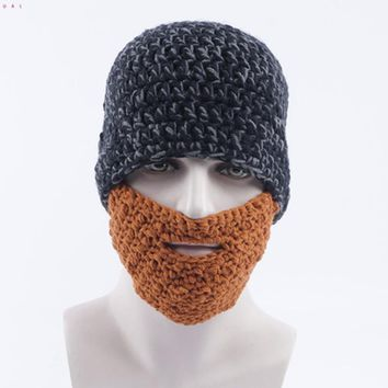 Funny Face Mask Bearded Beanie Knitted Hat