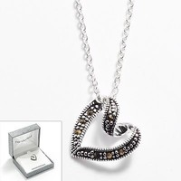 Silver Plated Marcasite Ribbon Heart Pendant