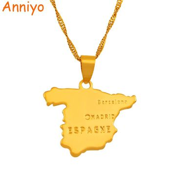 Anniyo Pendant 2.3cm x 2.7cm / Spain map pendant & necklace chain for women Gold Color Jewelry love ESPAGNE #007110