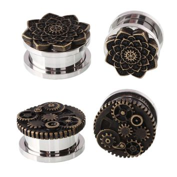 XINYAO 2017 Steampunk Flower Ear Plugs and Tunnel Stainless Steel Ear Expander Stretcher Piercing Flesh Tunnel Body Jewelry