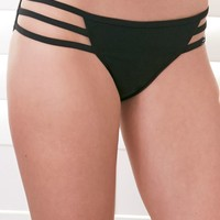 LA Hearts Strappy Side Bikini Bottom - Womens Swimwear - Black