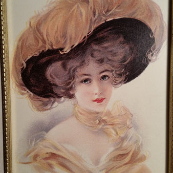 Beautiful Victorian Lady in Yellow with a Feather Hat Detailed Gold frame