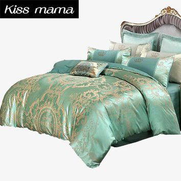 4Pcs Jacquard Luxury bedding set Bed Set Super King size,100% Cotton Duvet Cover Set Pillow Covers Bed Sheets Linens green