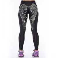 3D Angel Wings Printed Workout Leggings Women Sports Elastic Leggings Fitness Calzas Deportivas Mujer Work Out Clothes For Women