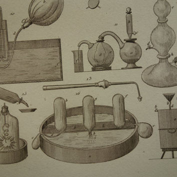 1852 CHEMISTRY print old pictures of glassware for experiments test tubes antique science prints about lab laboratory beaker flask 14x23cm 4