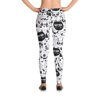Black and White Cat Pattern Leggings