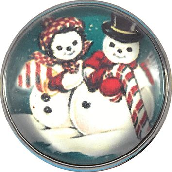 "Snap Charm Christmas Snowman and Snowlady 20 mm 3/4"" Diameter"