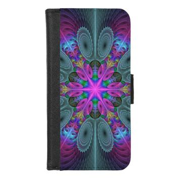 Mandala From Center Colorful Fractal Art With Pink iPhone 8/7 Wallet Case