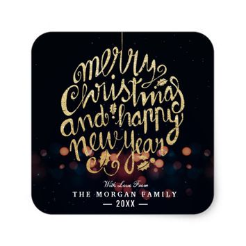 Black & Gold Christmas & Happy New Year Typography Square Sticker