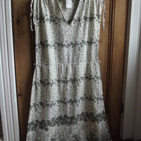 Sun dress sundress womens vintage clothing checked dress sleeveless 12 14 festival clothes stone sage green floral  Dolly Topsy Etsy UK