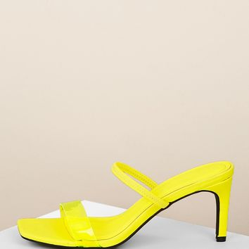 Strappy Clear Band Detail Kitten Heel Mules