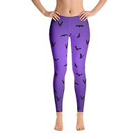 Purple Bats Halloween Leggings