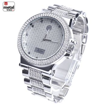 Jewelry Kay style Techno Pave Men's Iced Out CZ Bling Silver Plated Metal Band Watches WM 8306 S