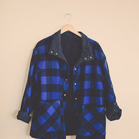 Vintage Buffalo Plaid Blue Black Wool Jacket Hipster Chic Preppy Lumberjack Retro Logger Chic  Women's size XL