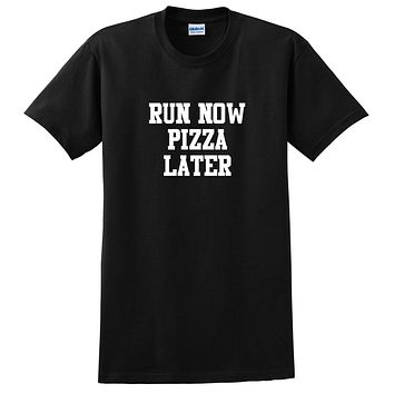 Gym, fitness athletic outfit, run now pizza later, motivation, inspiration T Shirt