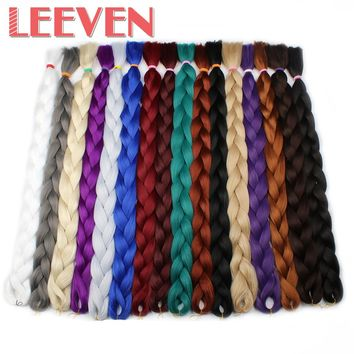 Leeven Jumbo Braids Synthetic Kanekalon Braiding Hair Extensions Blue Pink White Color Fiber crochet Hair 1Pcs/lot