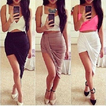 2015 Brand New Sexy Wrap Banded Waist Draped Women Skirt Cut Out Asymmetrical Hi Low Womens Skirts S M L = 5660113281