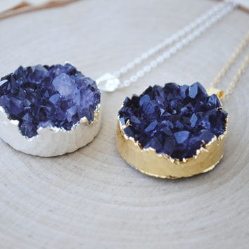 Round Amethyst Druzy Necklace in Silver or Gold, Amethyst Cluster Necklace, Amethyst Jewelry