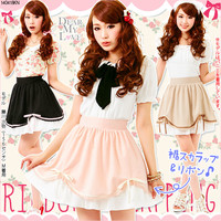 【M~LL】Scallop lace on the sweep&Bowknot decoration♪Softy skirt