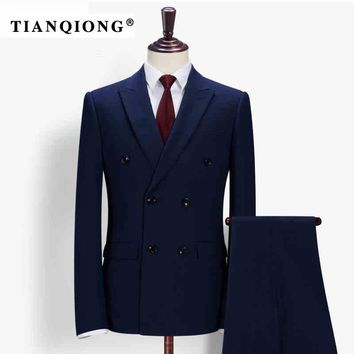 TIAN QIONG Men Slim Fit Royal Blue Tailor-made Suits Wedding Suit Stage Wear Clothing Fashion Mens Double Breasted 3 Piece Suits