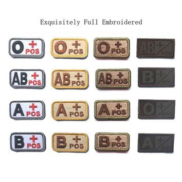 Tactical Blood Type Military Patches Embroidered A+ B+ AB+ O+ Positive Morale Armband Badge Appliques for Clothes with Hook&Loop