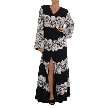 Black Silk Floral Lace Kaftan Dress