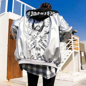 TREND-Setter 2018 Spring Hip Hop Style Sliver Leather Jacket Women Autumn Funny Pattern Letters Jacket Hooded Loose