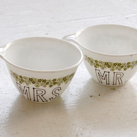 mr. and mrs. mug - retro green flowers - set of two (2) ready to ship