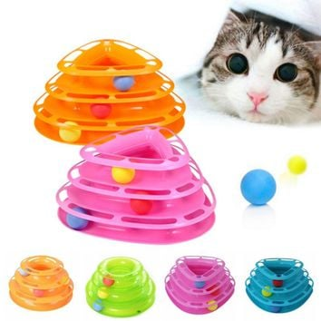New Funny Cat Pet Toy Cat Toys Intelligence Triple Play Disc Cat Toys Balls For Fun and Entertainment