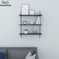 Industrial Tiered Storage Rustic Floating 3 Book Shelves Wall Mounted