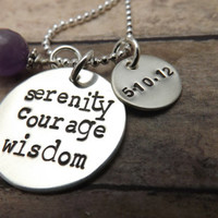 Sobriety Necklace-handstamped-personalized necklace
