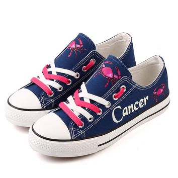 Hot Selling Fantasy Horoscope Printed Casual Flat Shoe Customized Cancer Constellation Design Women Canvas Shoes Chaussures