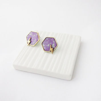Geometric hexagon and lightning studs. Simple modern geometric polymer clay studs