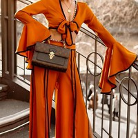 Cinnamon Girl Orange Long Flare Sleeve Tie Front V Neck Crop Top Slit Loose Wide Leg Pants Two Piece Jumpsuit