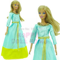 Fairy Tale Dress Princess Clothing Copy Brave Merida Long Sleeve Clothes For Barbie Doll