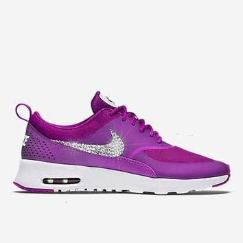 Women's Air Max Thea Vivid Purple Blinged Nikes, Bling Running Training Shoes Customiz