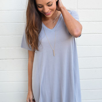 Forever Dreaming Tee Shirt Dress Silver
