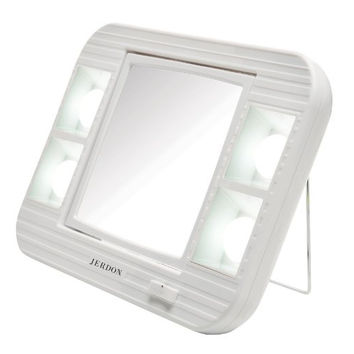Makeup Mirror with LED Battery Light 5x Magnification White Finish  Beauty Cosmetics