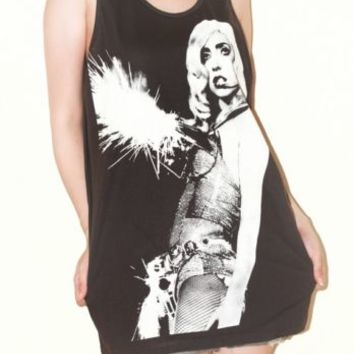 Lady Gaga Women Top Charcoal Black Sleeveless Shirt Tank Top Punk Rock Size M