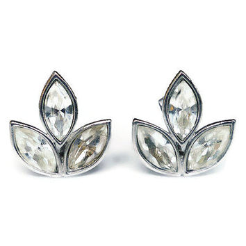 Yves Saint Laurent, YSL Earrings, Rhinestone Marquise, Silver Plated, Designer Couture, Vintage Jewelry